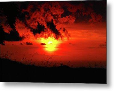 Flaming Sunset Metal Print by Christi Kraft