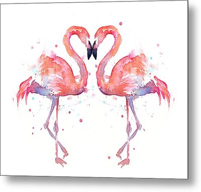 Flamingo Love Watercolor Metal Print by Olga Shvartsur