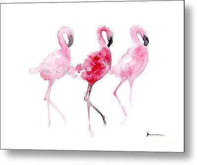 Flamingos Painting Watercolor Art Print Metal Print by Joanna Szmerdt