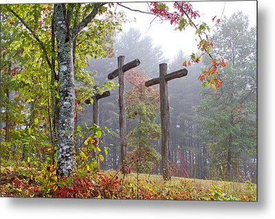 Flax Creek In The Fog Metal Print by Debra and Dave Vanderlaan
