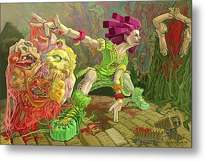 Flesh Ball Why Is Everything Alive Metal Print by Augustinas Raginskis