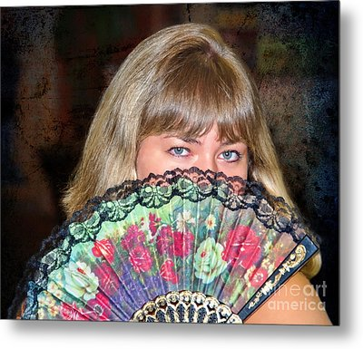 Flirting With The Fan Metal Print by Mariola Bitner