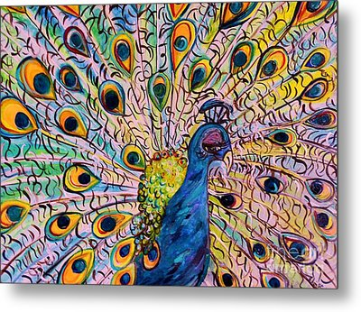 Flirty Peacock Metal Print by Eloise Schneider