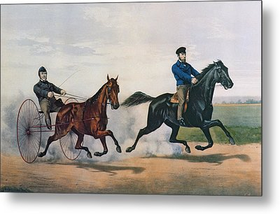 Flora Temple And Lancet Racing On The Centreville Course Metal Print by Currier and Ives