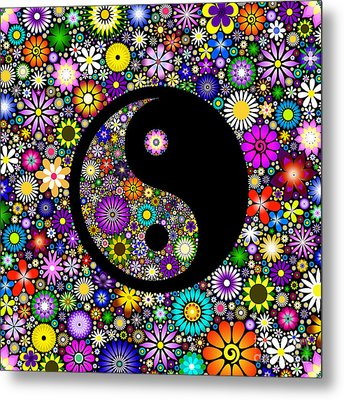 Floral Yin Yang Metal Print by Tim Gainey