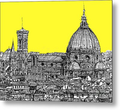 Florence Duomo In Acid Yellow Metal Print by Adendorff Design