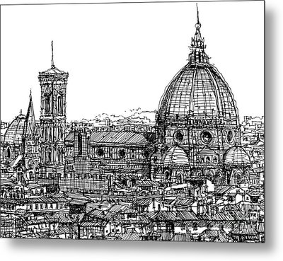 Florence Duomo In Ink  Metal Print by Adendorff Design