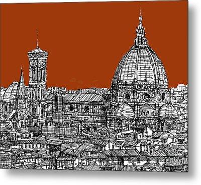 Florence Duomo On Sepia  Metal Print by Adendorff Design