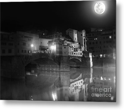 Florence Italy - Ponte Vecchio At Night Metal Print by Gregory Dyer