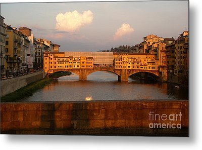 Florence Italy - Ponte Vecchio - Sunset - 01 Metal Print by Gregory Dyer