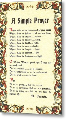 Florentine Simple Prayer For Peace By Saint Francis Of