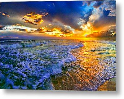 Florida Beach-golden Suntrail Sunset-rolling Sea Waves Metal Print by Eszra Tanner
