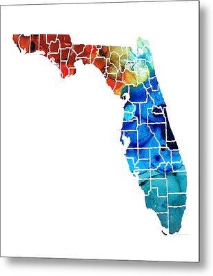 Florida - Map By Counties Sharon Cummings Art Metal Print by Sharon Cummings