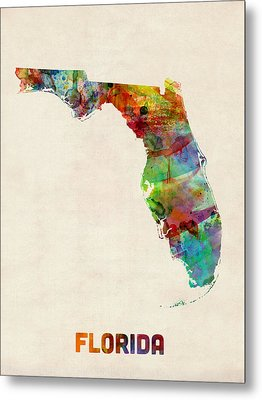 Florida Watercolor Map Metal Print by Michael Tompsett