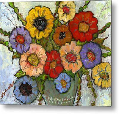 Flower Bouquet Metal Print by Blenda Studio