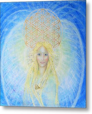 Flower Of Life Angel Metal Print by Lila Violet