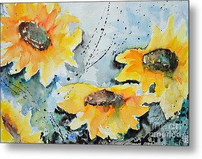 Flower Power- Floral Painting Metal Print by Ismeta Gruenwald