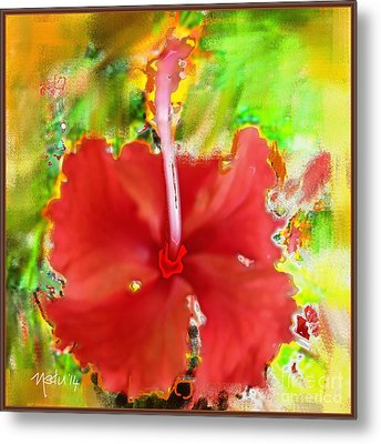 Flower Red Metal Print by Nedunseralathan R