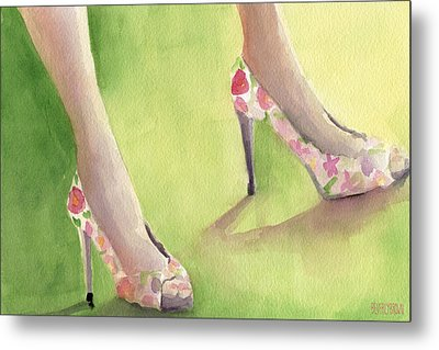Flowered Shoes Fashion Illustration Art Print Metal Print by Beverly Brown Prints