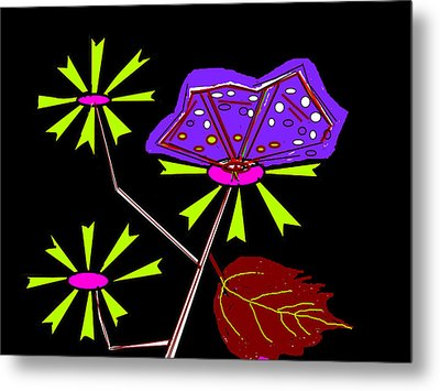 Flowers And Butterfly Metal Print by Anand Swaroop Manchiraju