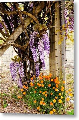 Flowers By The Gate Metal Print by Avis  Noelle