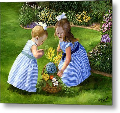 Flowers For Mama With Girls Garden Basket Bouquet Metal Print by Alice Leggett