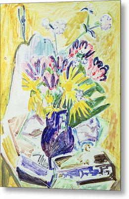 Flowers In A Vase Metal Print by Ernst Ludwig Kirchner