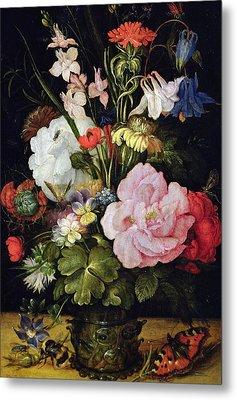 Flowers In A Vase Metal Print by Roelandt Jacobsz Savery