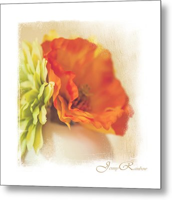 Flowers In Vase. Mini-idea For Interior Metal Print by Jenny Rainbow