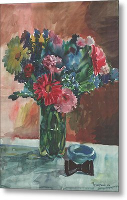 Flowers Of Italy With A Bow Tie And A Blue Bracelet Metal Print by Anna Lobovikov-Katz