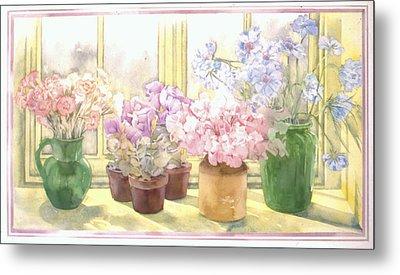 Flowers On The Windowsill Metal Print by Julia Rowntree