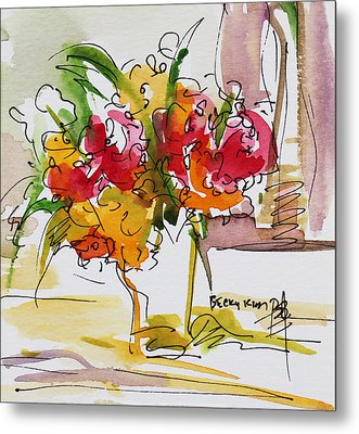 Flowers Red And Yellow Metal Print by Becky Kim