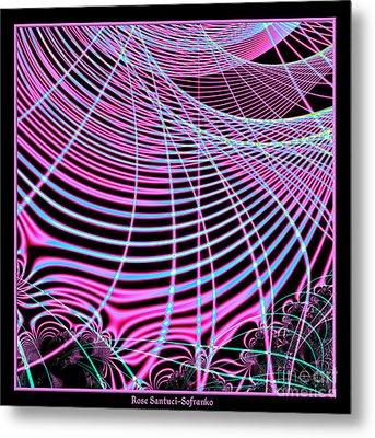 Fluorescent Neon Web Fractal 45 Metal Print by Rose Santuci-Sofranko