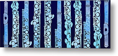 Flutes In Blue Metal Print by Jenny Armitage