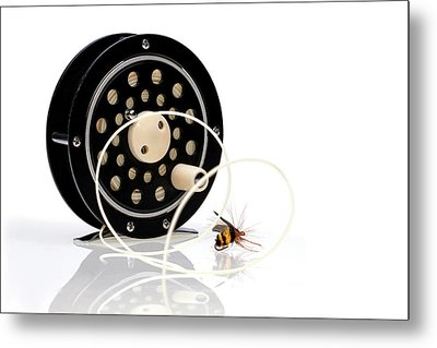 Fly Fishing Reel With Fly Metal Print by Tom Mc Nemar