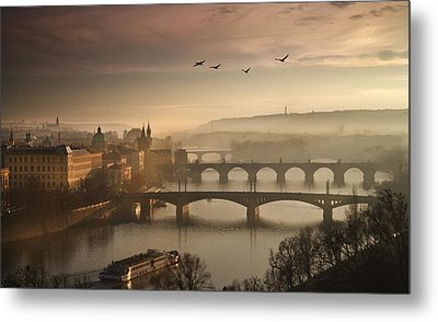 Flying Over Prague Metal Print by Charlie Photographer