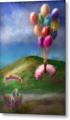 Flying Pig - Child - How I Wish I Were A Bird Metal Print by Mike Savad