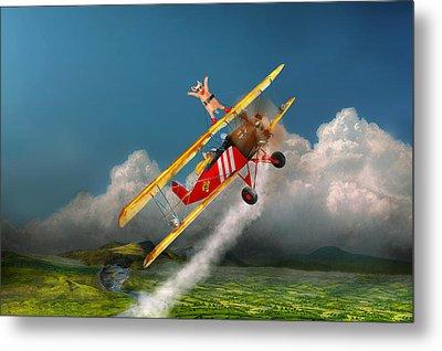 Flying Pigs - Plane - Hog Wild Metal Print by Mike Savad