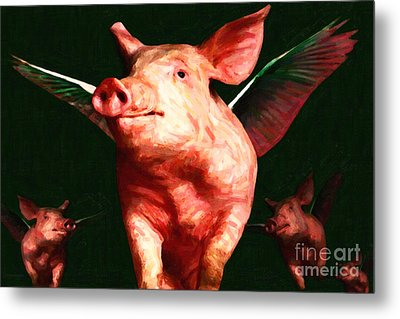 Flying Pigs V1 Metal Print by Wingsdomain Art and Photography