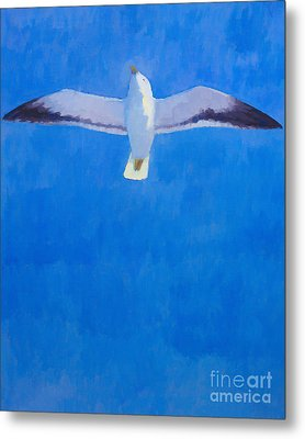 Flying Seagull Metal Print by Lutz Baar