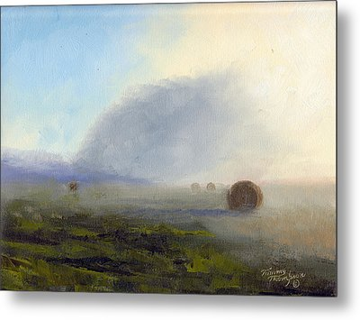 Foggy Bales Metal Print by Tommy Thompson