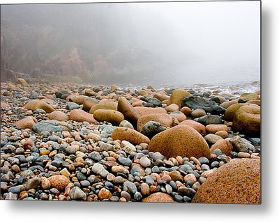 Foggy Frosting On The Rocks Metal Print by Brent L Ander