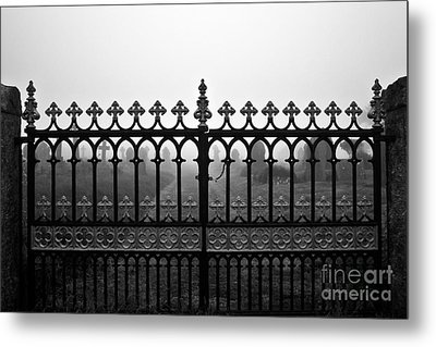 Foggy Grave Yard Gates Metal Print by Terri Waters