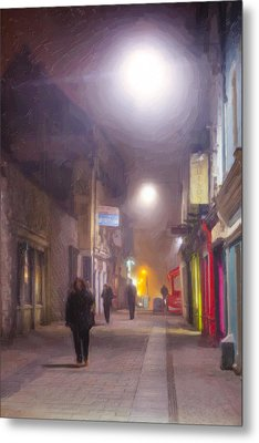 Foggy Night In The Heart Of Galway Metal Print by Mark E Tisdale