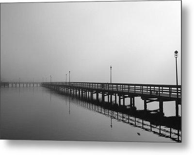 Foggy Pier Metal Print by Kimberly Oegerle