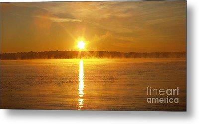 Foggy Sunrise Over Manhassett Bay Metal Print by John Telfer