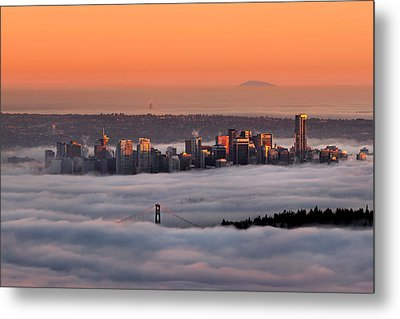 Foggy Sunset Crop Metal Print by Alexis Birkill