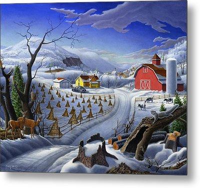 Folk Art Winter Landscape Metal Print by Walt Curlee