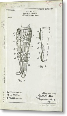 Football Pants Patent Drawing Metal Print by Jon Neidert