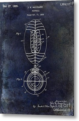 1925 Football Patent Drawing Blue Metal Print by Jon Neidert